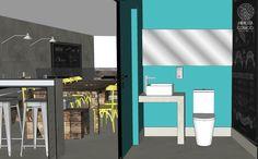 Bar Estilo Industrial   Os banheiros possuem a porta e quase todas as paredes pintadas na cor azul. Há ainda um quadro negro onde os visitantes podem deixar recados.