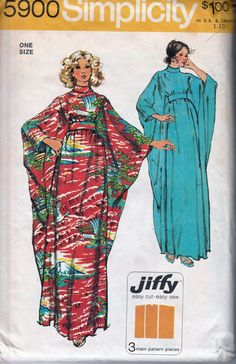 1973 Simplicity 5900 vintage sewing pattern. The caftan with bias roll collar and back zipper has self fabric tie belt slipped thru openings in side front seams and tied on inside.