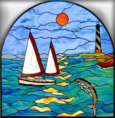 boat stained glass | glass nautical glass ocean glass 4u forward reflection by t wesnoski ...