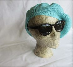 Crochet Slouchy Limpet Shell Blue Beret Summer Hat by Annavania