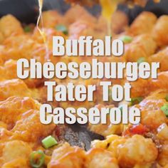 WOULD BE BETTER WITH CHICKEN. This easy, cheesy Buffalo Cheeseburger Tater Tot Casserole is seriously the best! It's made with ground beef, buffalo sauce and cheddar cheese, all in one pot, for a quick and simple recipe! Easy Casserole Recipes, Easy Dinner Recipes, Easy Meals, Weeknight Meals, Quick Meals For Dinner, Dinner Ideas, Meals For Two, Easy Recipes, Healthy Recipes