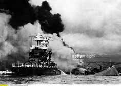 USA Hawaii : Attack on Pearl Harbor by the Imperial Japanese Navy on December 7, 1941 Front left the only slightly damaged battleship 'Maryland', at the back the 'Oklahoma' sinking under a cloud of smoke - Vintage property of ullstein bild Pictures | Getty Images