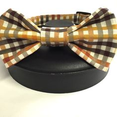 Autumn plaid dog collar fall dog collar bow tie by DazzleDoggieCo
