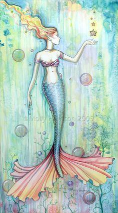 Mermaid Art Fantasy Print by Molly Harrison 11 x 17  Bubbles. $30.00, via Etsy.