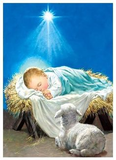 Jesus is born in Luke Mary and Joseph have to travel to Jerusalem. Jesus is born in a barn. He is placed in a manger. Christmas Scenes, Christmas Nativity, Christmas Pictures, The Nativity, Religious Pictures, Religious Art, Idees Cate, Illustration Noel, Jesus Christ Images