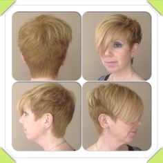Short firefly style with a heavy fringe, hair by stylist jasmine