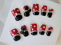 Kawaii 3D Nail Art-Minnie Mouse Rhinestone Black and Red with Polka Dot on Etsy, $14.99