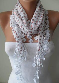 White Scarf with Orange Flowered Fabric with White