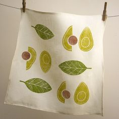 Avocado and olive green hand printed linen napkins set of 4
