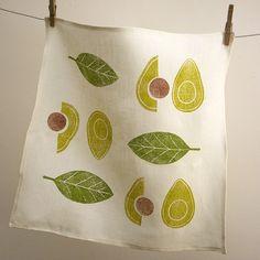 Avocado and olive green cream hand block printed linen by giardino