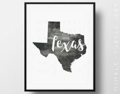 Texas State Outline Watercolor  -  Typography Printable Download