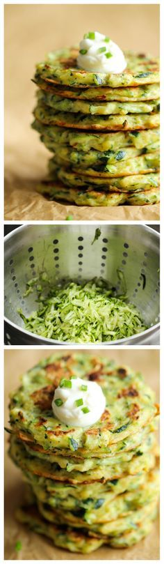 Savory Zucchini Fritters - These fritters are unbelievably easy to make, low calorie, and the perfect way to sneak in some veggies!