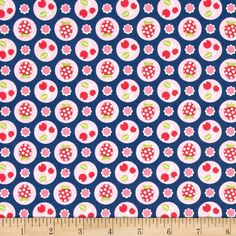 Riley Blake Flutterberry Berries Navy from @fabricdotcom  Designed by Melly & Me for Riley Blake Designs, this cotton print fabric is perfect for quilting, apparel and home décor accents. Colors include navy, pink, hot pink, green and white.