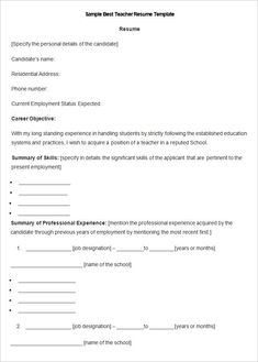English Teacher Resume Template Eord Format Download , How to Make a ...