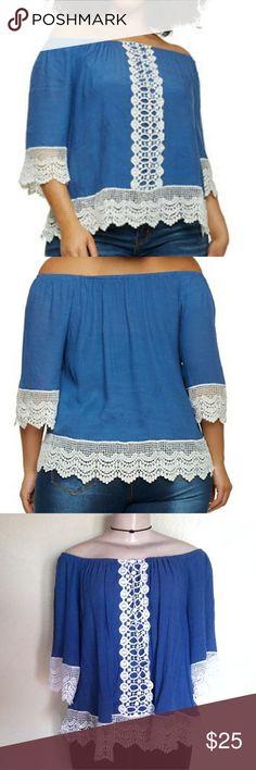 🎉PRICE DROP! Plus Size Off Shoulder Top Worn once No stretch Elastic neckline 60% rayon 40% poly Crochet trim 2x Unique Spectrum Tops Blouses