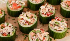 Have plenty of cukes! Stuffed Cucumber Cups Recipe ~ Keep this recipe in mind for your next summer party, it will be a hit!Use Bar-S bacon to add a delicious crunch to these refreshing stuffed cucumber cups.Stuffed Cucumber Cups - herbed cream cheese w/b Cucumber Cups, Cucumber Recipes, Cucumber Appetizers, Cucumber Bites, Zucchini Appetizers, Cucumber Salad, Zucchini Cups, Stuffed Zucchini, Zucchini Rounds