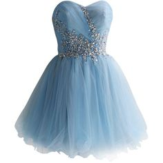 SZMH Women's Sweetheart Sky Blue Tulle Short Prom Dress With Sequins ($126) ❤ liked on Polyvore featuring dresses, blue, elsa, strapless, vestidos, sky blue dress, prom dresses, short sequin dress, sequin cocktail dresses and blue dress