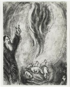 The sacrifice offered by Elijah is consumed by the fire from the Lord (I Kings XVIII, 36-38) - Marc Chagall