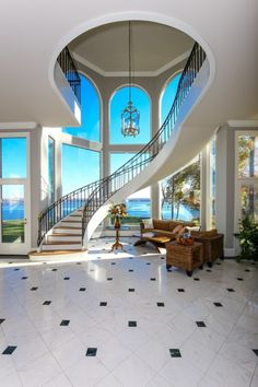 55 Luxurious Grand Staircase Design Ideas That are Just Spectacular Dream Home Design, Modern House Design, My Dream Home, Grand Staircase, Staircase Design, Curved Staircase, Winding Staircase, Stair Design, Staircase Ideas