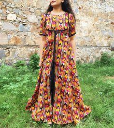 Multicoloured Cotton Maxi Cape Dress