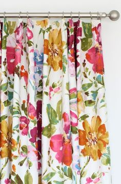 Curtains made with P. Kaufmann Paint Palette Punch fabric, from Tonic Living Printed Curtains, Floral Curtains, Modern Curtains, Custom Curtains, Colorful Curtains, Drapes Curtains, Floral Fabric, Bright Curtains, Linen Curtain