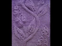 Knitting with knitting needles. Pattern Openwork leaves with flowers. Leaf Knitting Pattern, Lace Knitting Patterns, Knitting Stiches, Knitting Videos, Loom Knitting, Knitting Designs, Knitting Needles, Baby Knitting, Stitch Patterns