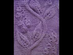 Вязание спицами. Узор Ажурные листья с цветами. Часть 3 - YouTube