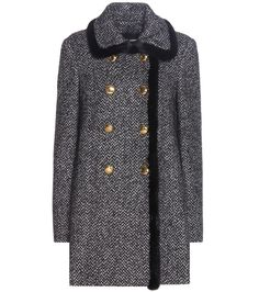 mytheresa.com - Fur-trimmed virgin wool and silk-blend coat - Luxury Fashion for Women / Designer clothing, shoes, bags