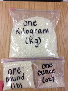 Put rice in bags so students can feel how much is an ounce, a pound, a kilogram...