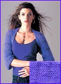 model wearing Grape Striped Openwork Shrug. Doing