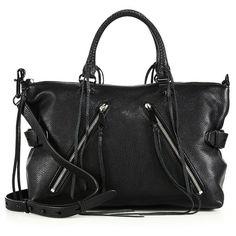 Rebecca Minkoff Moto Leather Satchel ($350) ❤ liked on Polyvore featuring bags, handbags, apparel & accessories, black, rebecca minkoff handbags, leather satchel, black satchel, black satchel purse and satchel handbags