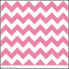 1/2 yard Riley Blake Hot Pink Chevron - Pink  / White  Zig Zag. $4.50