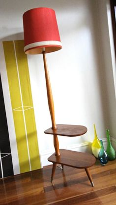 Collectable Retro Floor Lamp Stand With Side Coffee Tables Danish Parker Style | eBay
