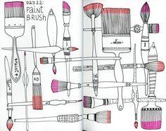 Klika Design: Creativebug Drawing Challenge with Lisa Congdon Day paint brush. Doodle Designs, Paint Brushes, Sketchbook Challenge, Sketch Book, Sketchbook Cover, Simple Graphic, Brush Drawing, Paint Brush Drawing, Art Journal Pages