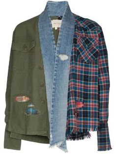 Shop our collection for men at Farfetch for pieces from your favorite brands, including Off-White and Burberry. Korean Street Fashion, Denim Fashion, High Fashion, Estilo Jeans, Picnic Outfits, Wrap Style, My Style, Patchwork Designs, Kimono Jacket
