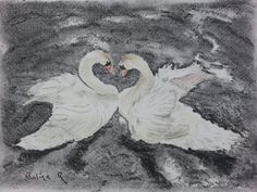 #Swans #charcoal #painting #drawing #art
