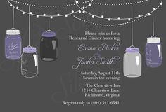 Eggplant Purple and Grey Vintage Hanging Mason Jars Custom Rehearsal Dinner Invitation