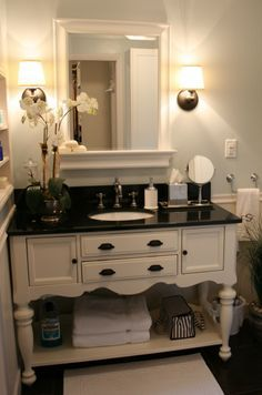 You can also use buffets in bathrooms. ♥ Discover the hottest designs and inspirations on Buffets and Cabinets | Visit us at http://www.buffetsandcabinets.com/ | #buffetsandcabinets #designnews #designinspiration #celebratedesign #interiordesign #designlovers #designbook #furnituredesign #luxuxryfurniture #interiordesigninspiration