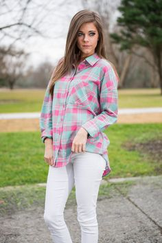 Pink and Mint Plaid long sleeve