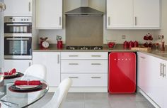 Nice retro style small fridge and colour scheme, Pinned from kitchen sourcebook