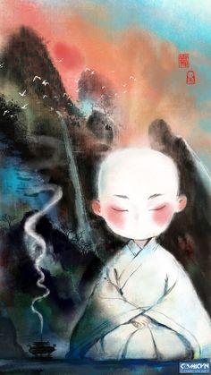 Little Buddha, Meditation Art, Buddha Art, Buddhist Monk, Zen Art, Japan Art, Chinese Art, Buddhism, Fantasy Art