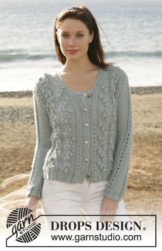 """Water Pebbles - DROPS cardigan with bobbles and lace pattern knitted in 1 thread """"Silke-Alpaca"""" ot 2 threads """"BabyAlpaca Silk"""". Size S - XXL - Free pattern by DROPS Design Drops Patterns, Lace Patterns, Knitting Patterns Free, Free Knitting, Free Pattern, Crochet Patterns, Drops Design, Gilet Crochet, Knit Crochet"""