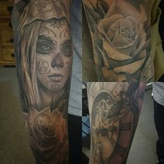 Day of the dead tattoo black and grey tattoo time tattoo death moth tattoo rose tattoo tomjinbu