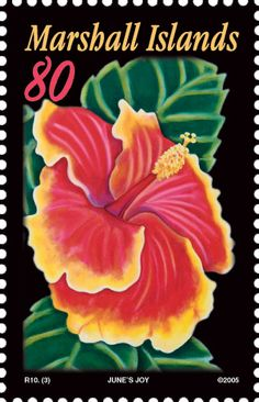 Marshall Islands: R10(I) Hibiscus Flowers   www.unicover.com - 301 × 467 - Search by image On March 15, 2005, the Marshall Islands Postal Service issues new postage stamps featuring hibiscus flowers