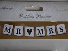 Mr and Mrs Banner Wedding Photo Prop Chair Decoration Reception Bunting