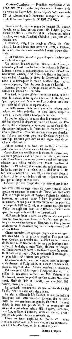 1898 - Opéra-Comique : Première représentation de l'Île du Rêve, idylle polynésienne