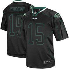 Men's Nike NFL New York Jets #15 Tim Tebow Elite Lights Out Black Jersey