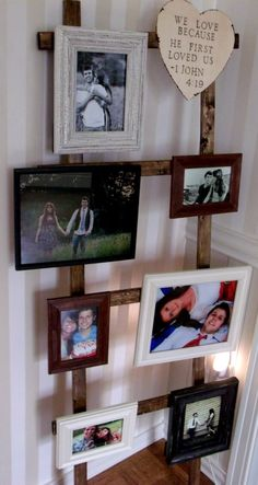 Ladder - Picture Frame Holder - Wedding Décor Turned Into House Décor - DIY - Wood Burned - Rustic Wedding - Barn Wedding