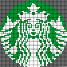 Starbucks Coffee logo perler bead pattern @Kristin Godwin .. bet you could cross stitch this