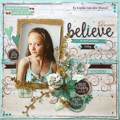Emilia van den Heuvel: Believe {Kaisercraft & Merly Impressions} Scrapbook Journal, Scrapbook Supplies, Scrapbook Pages, Scrapbook Layout Sketches, Scrapbooking Layouts, Diy Paper, Paper Crafting, Paper Cards, Smash Book Pages
